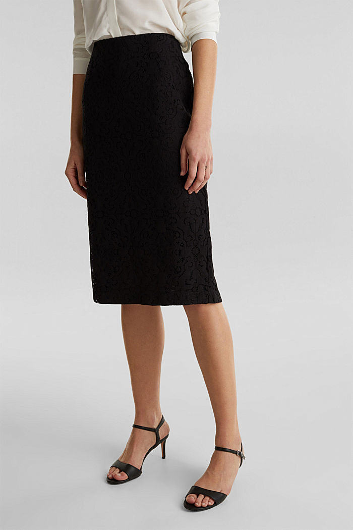 Lace pencil skirt, BLACK, detail image number 5