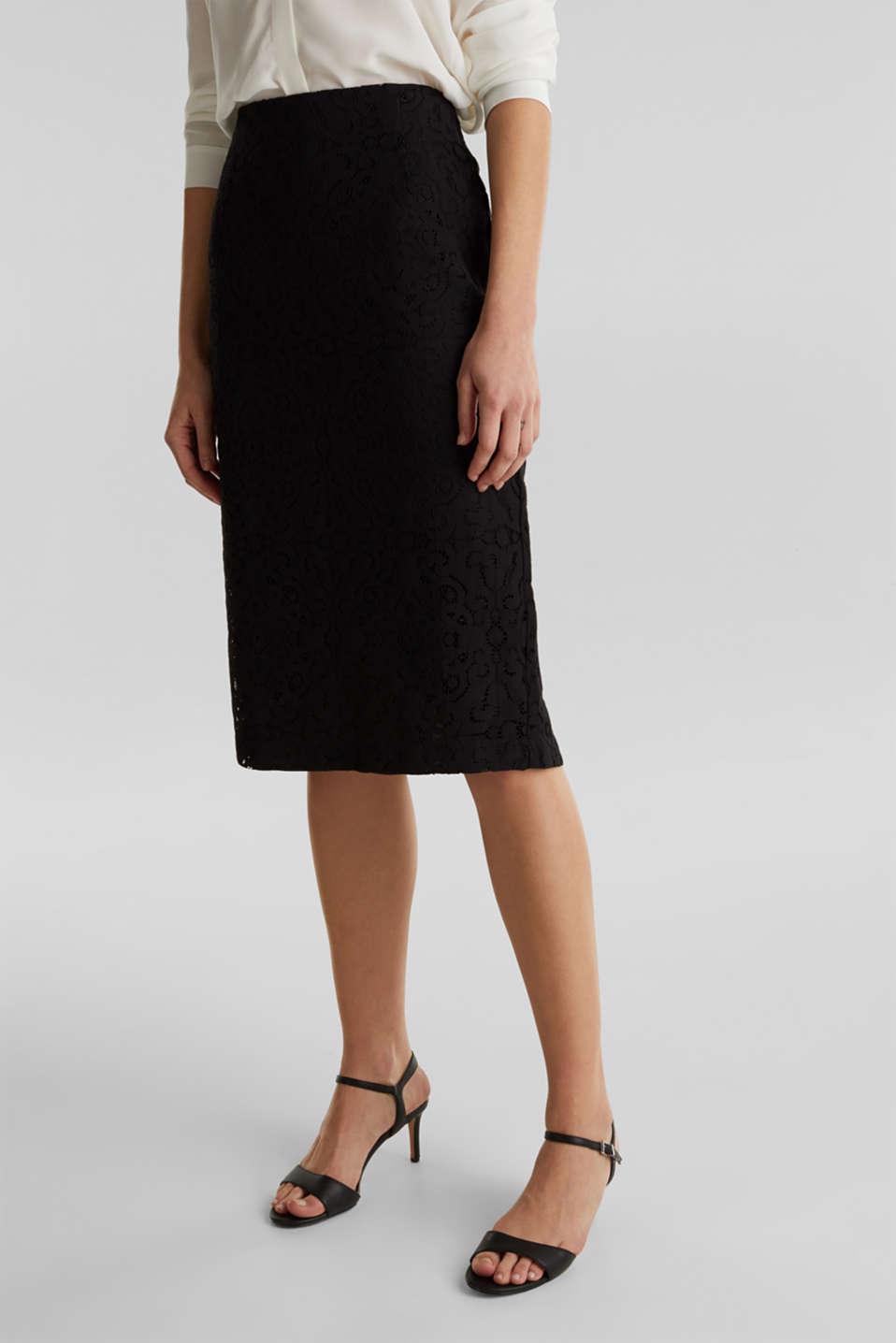 Lace pencil skirt, BLACK, detail image number 5