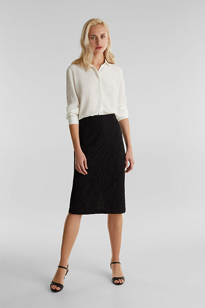 Lace pencil skirt, BLACK, detail image number 1