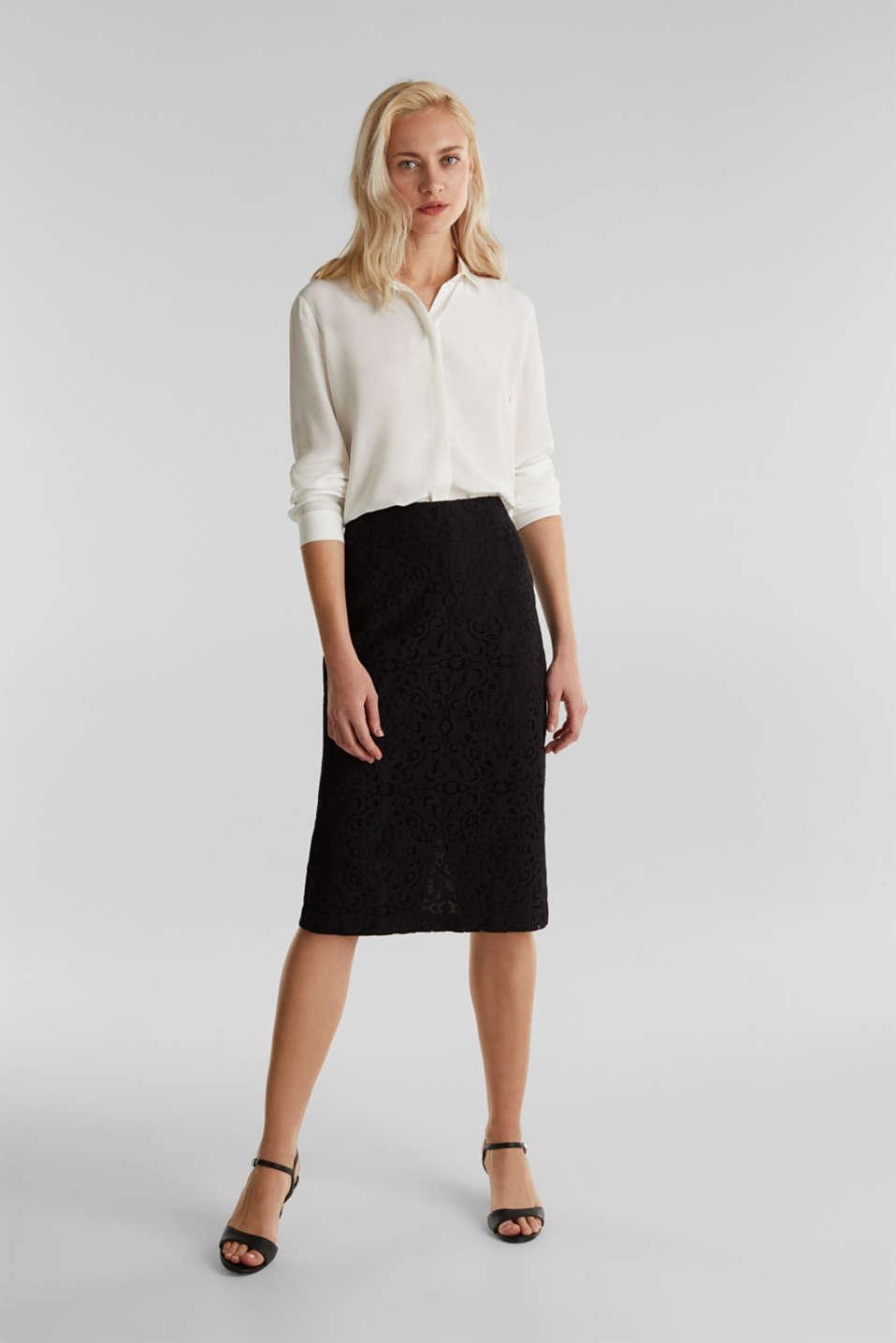 Lace pencil skirt, BLACK, detail image number 1