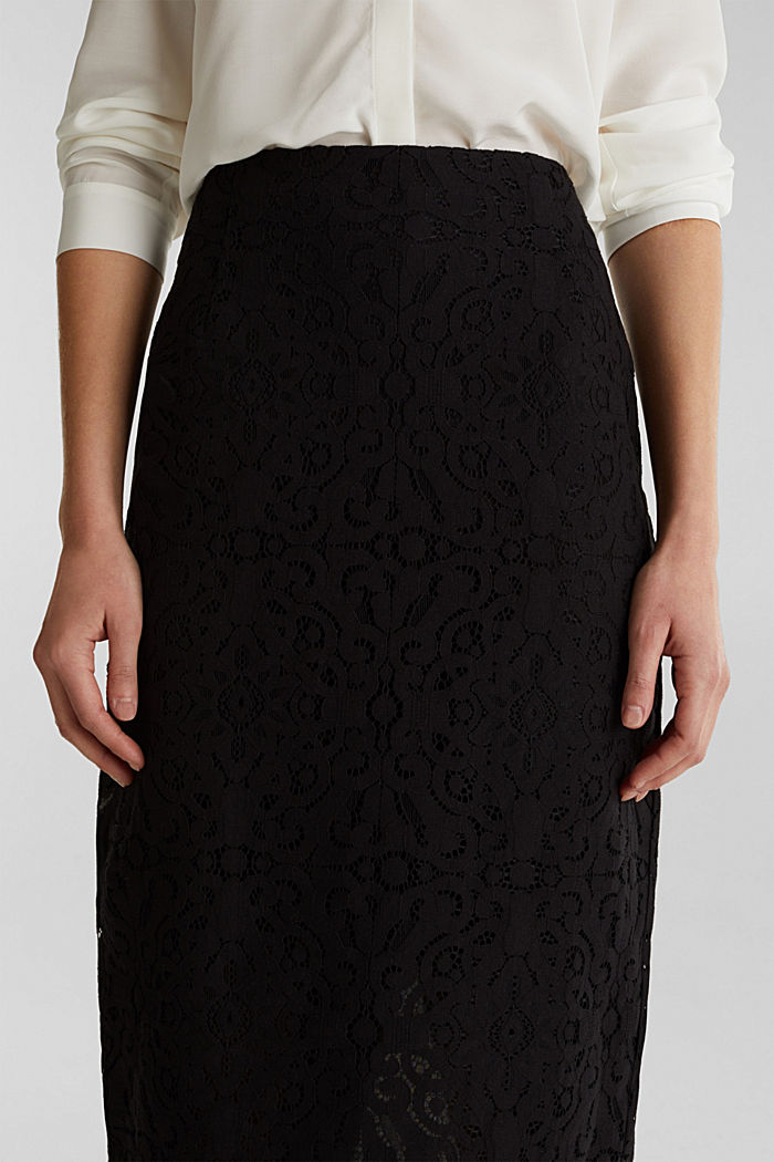 Lace pencil skirt, BLACK, detail image number 2