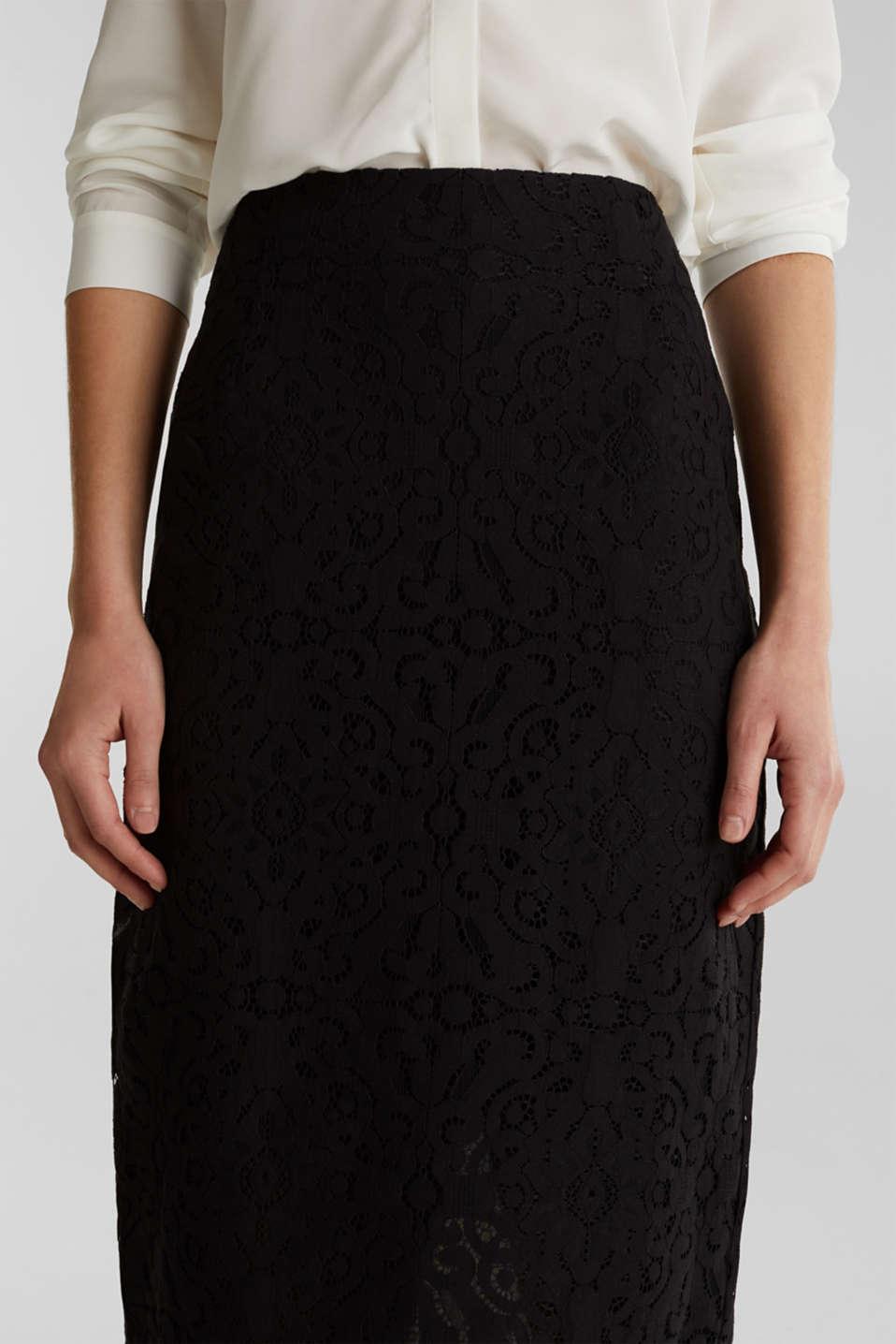 Lace pencil skirt, BLACK, detail image number 2