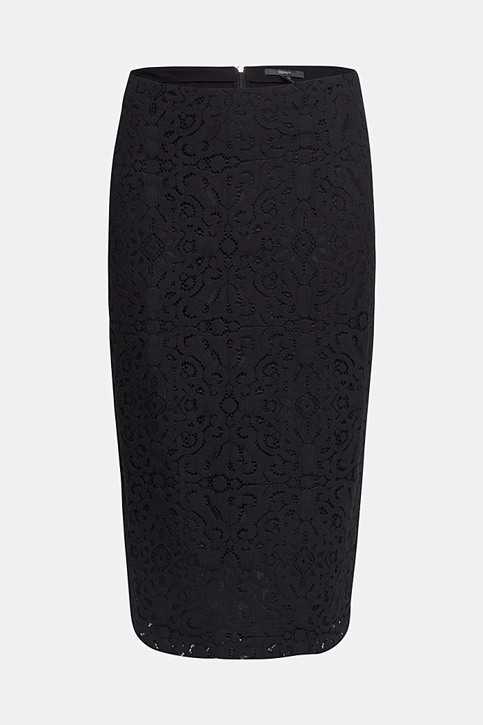 Lace pencil skirt, BLACK, detail image number 6