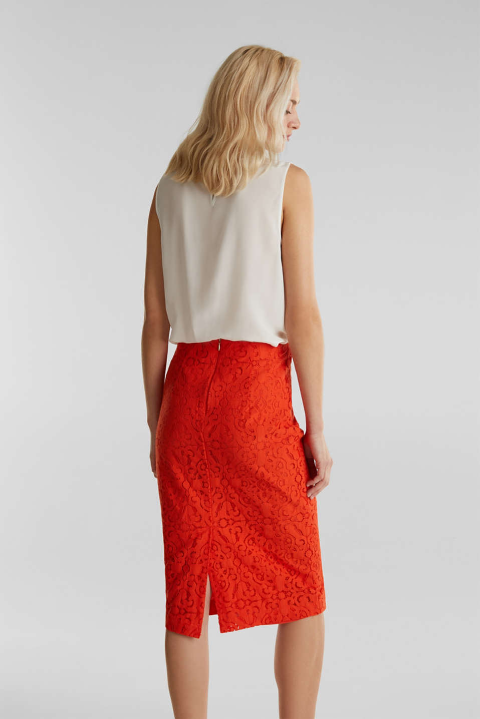 Lace pencil skirt, RED ORANGE, detail image number 3