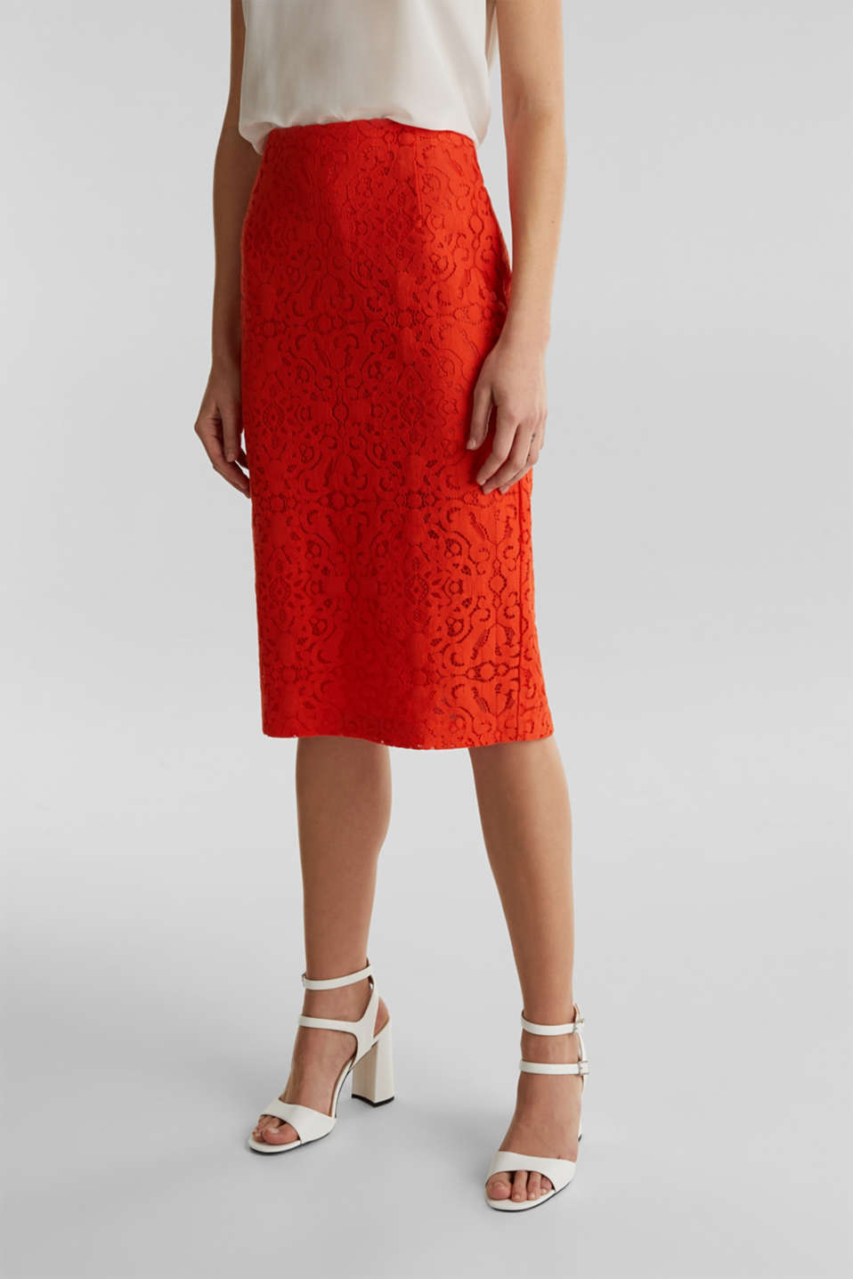 Lace pencil skirt, RED ORANGE, detail image number 6