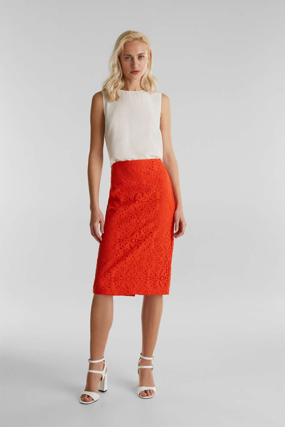 Lace pencil skirt, RED ORANGE, detail image number 1