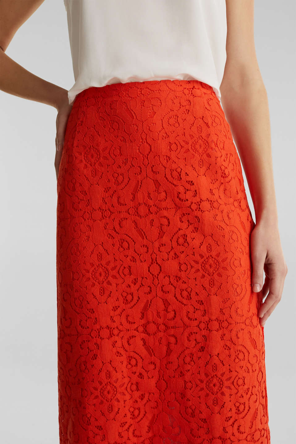 Lace pencil skirt, RED ORANGE, detail image number 2