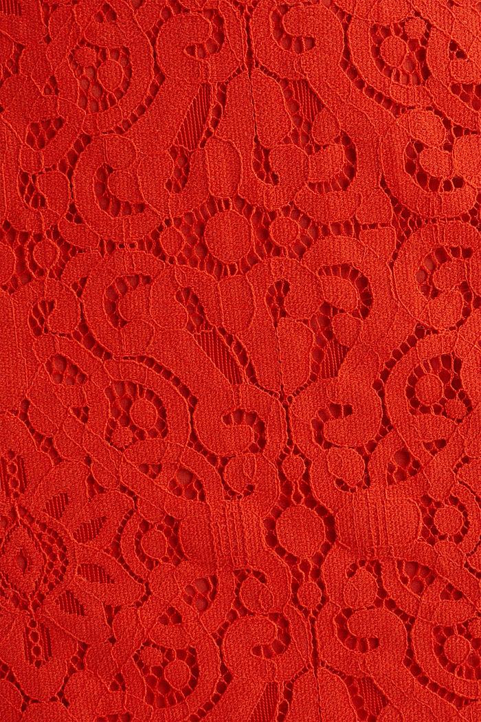 Bleistiftrock aus Spitze, RED ORANGE, detail image number 4