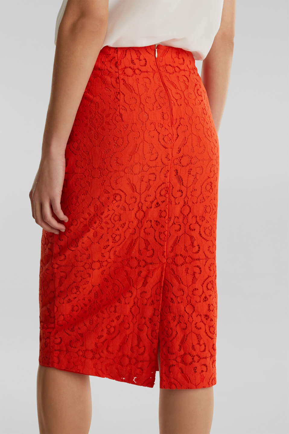 Lace pencil skirt, RED ORANGE, detail image number 5