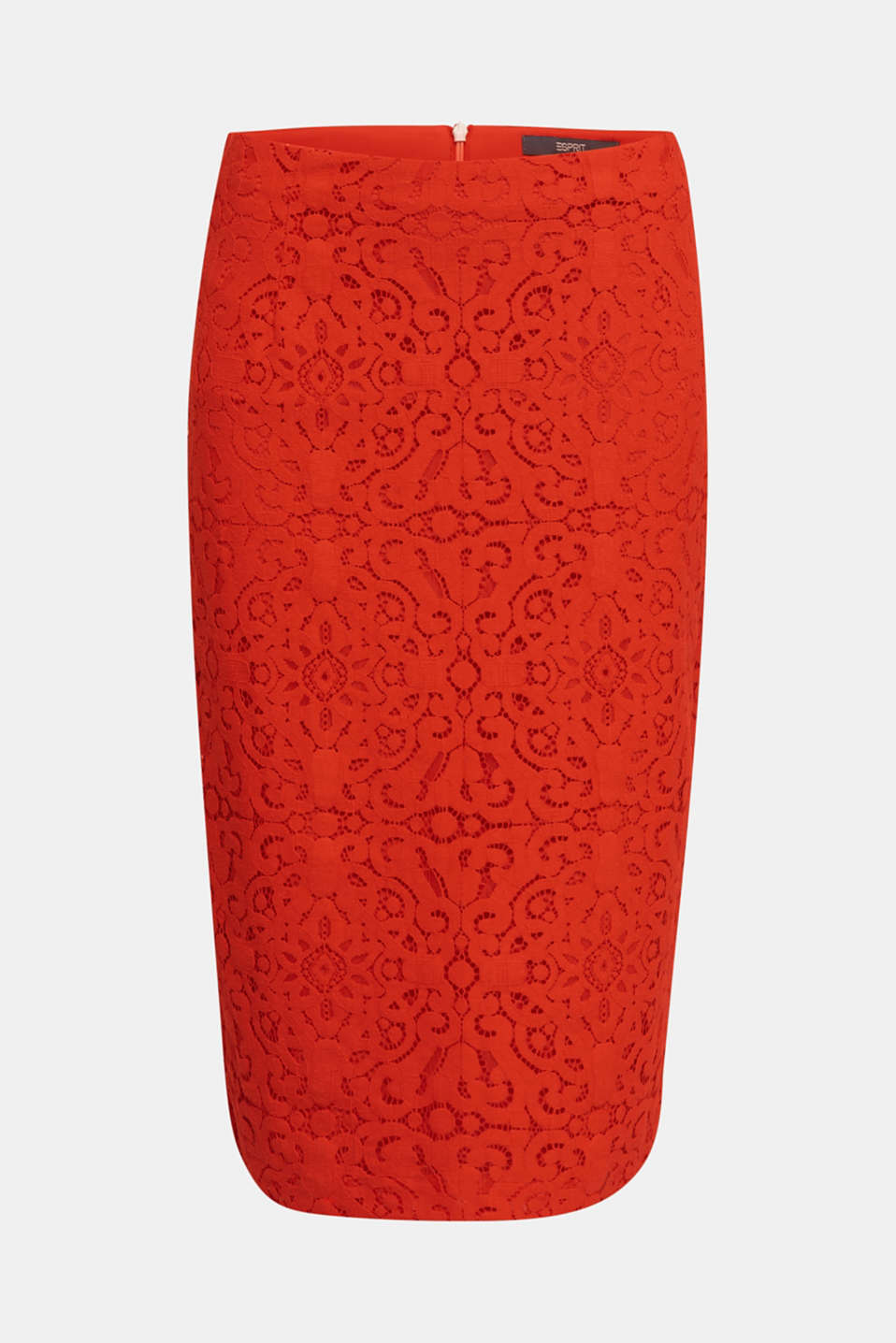 Lace pencil skirt, RED ORANGE, detail image number 7