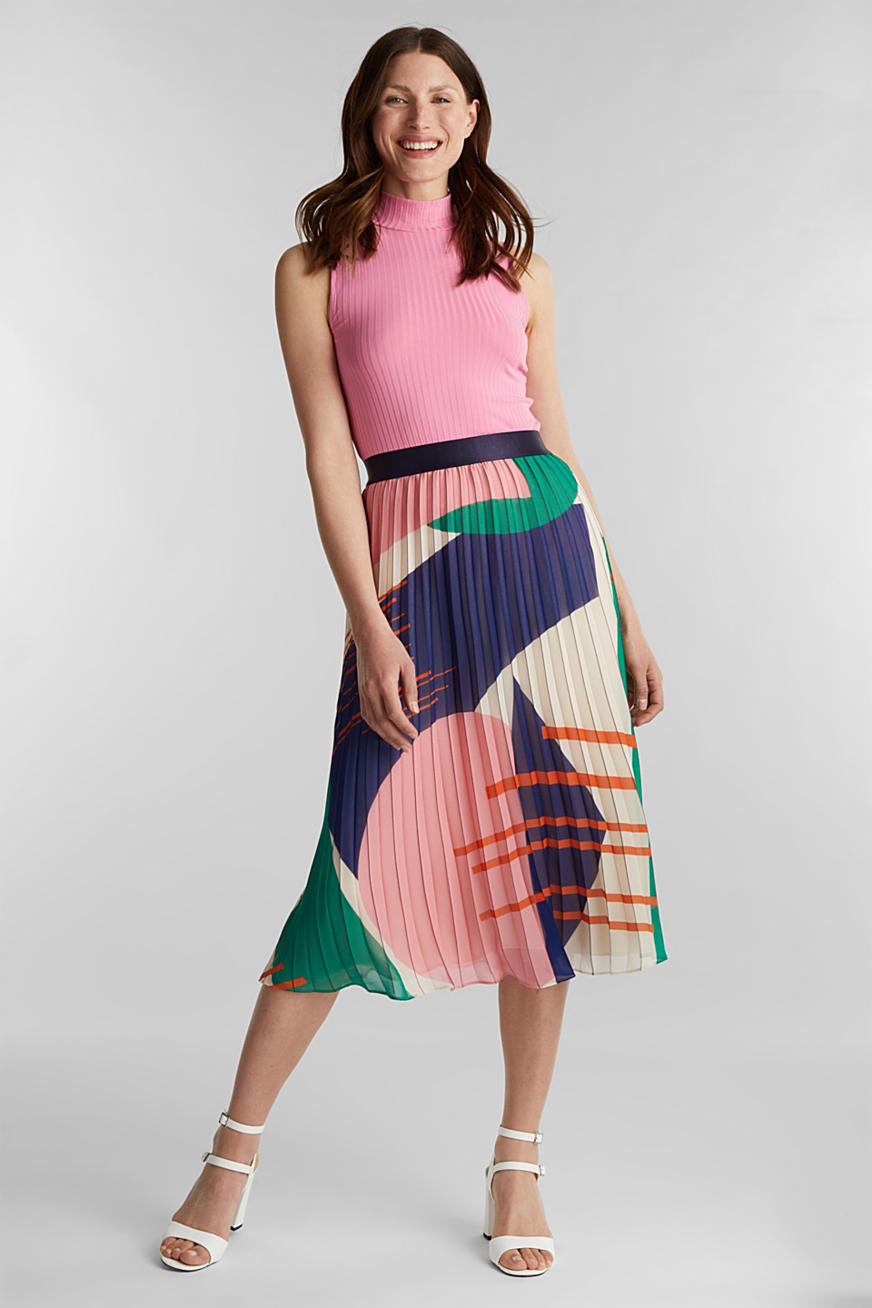 Recycled: Pleated skirt with a print