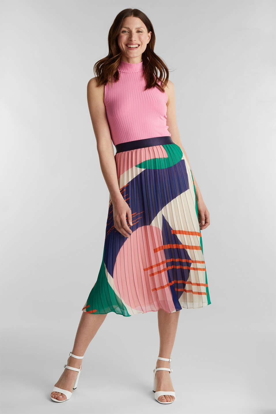 Recycled: Pleated skirt with a print, OFF WHITE 4, detail image number 0