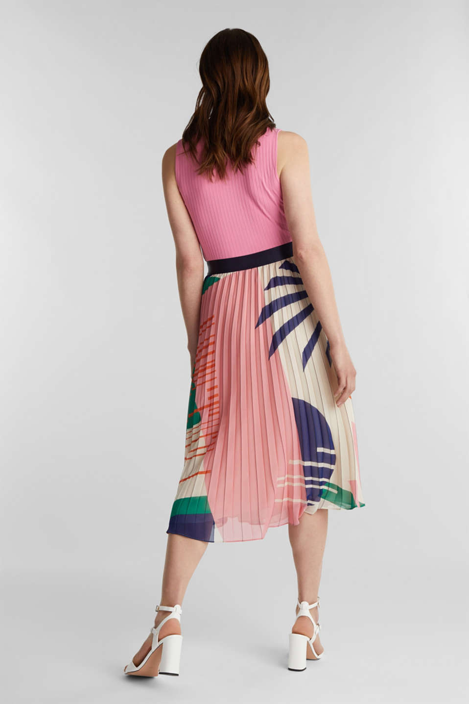 Recycled: Pleated skirt with a print, OFF WHITE 4, detail image number 3