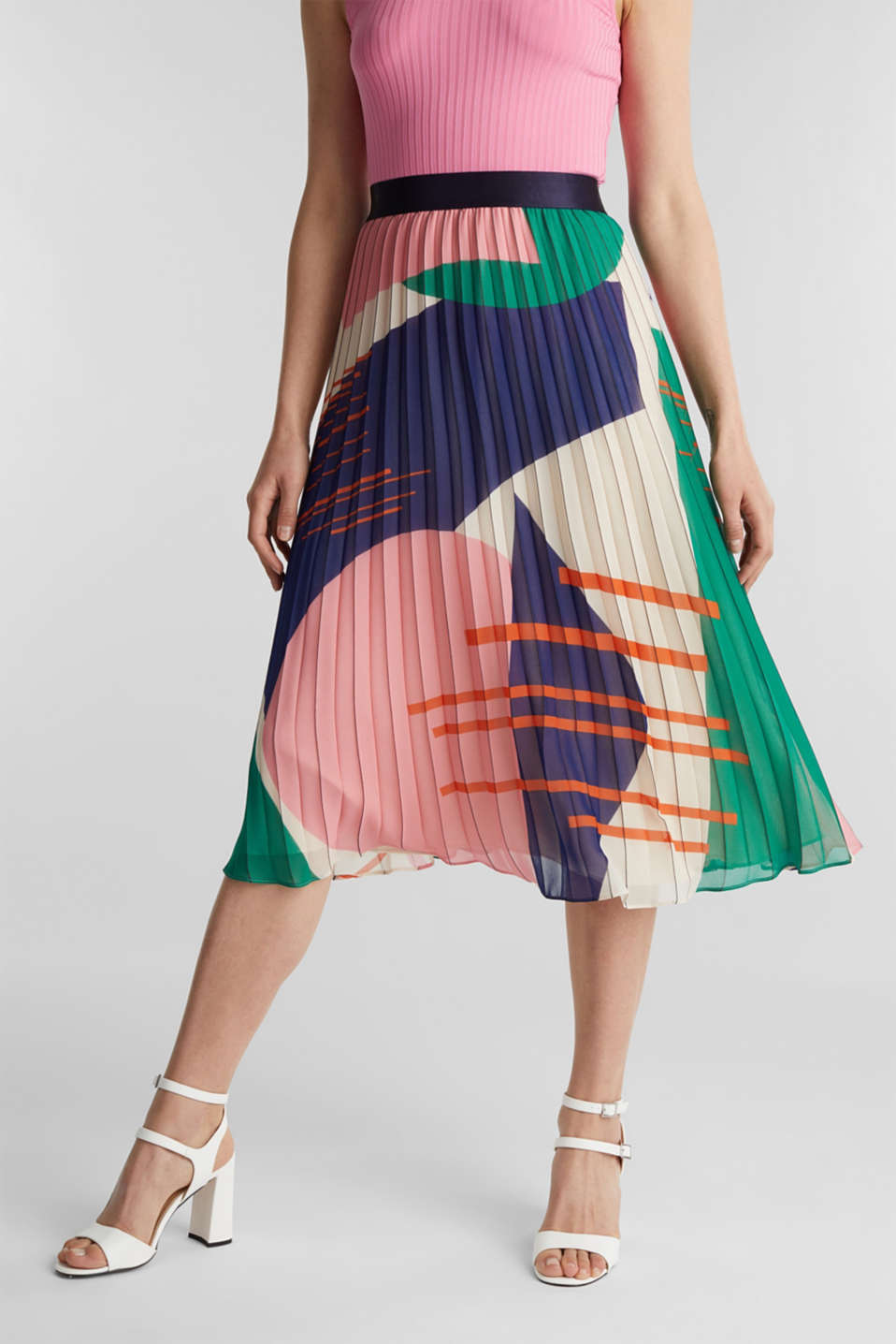 Recycled: Pleated skirt with a print, OFF WHITE 4, detail image number 5