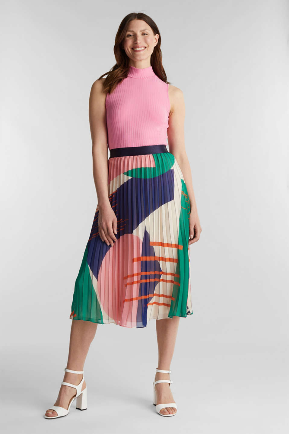 Recycled: Pleated skirt with a print, OFF WHITE 4, detail image number 1