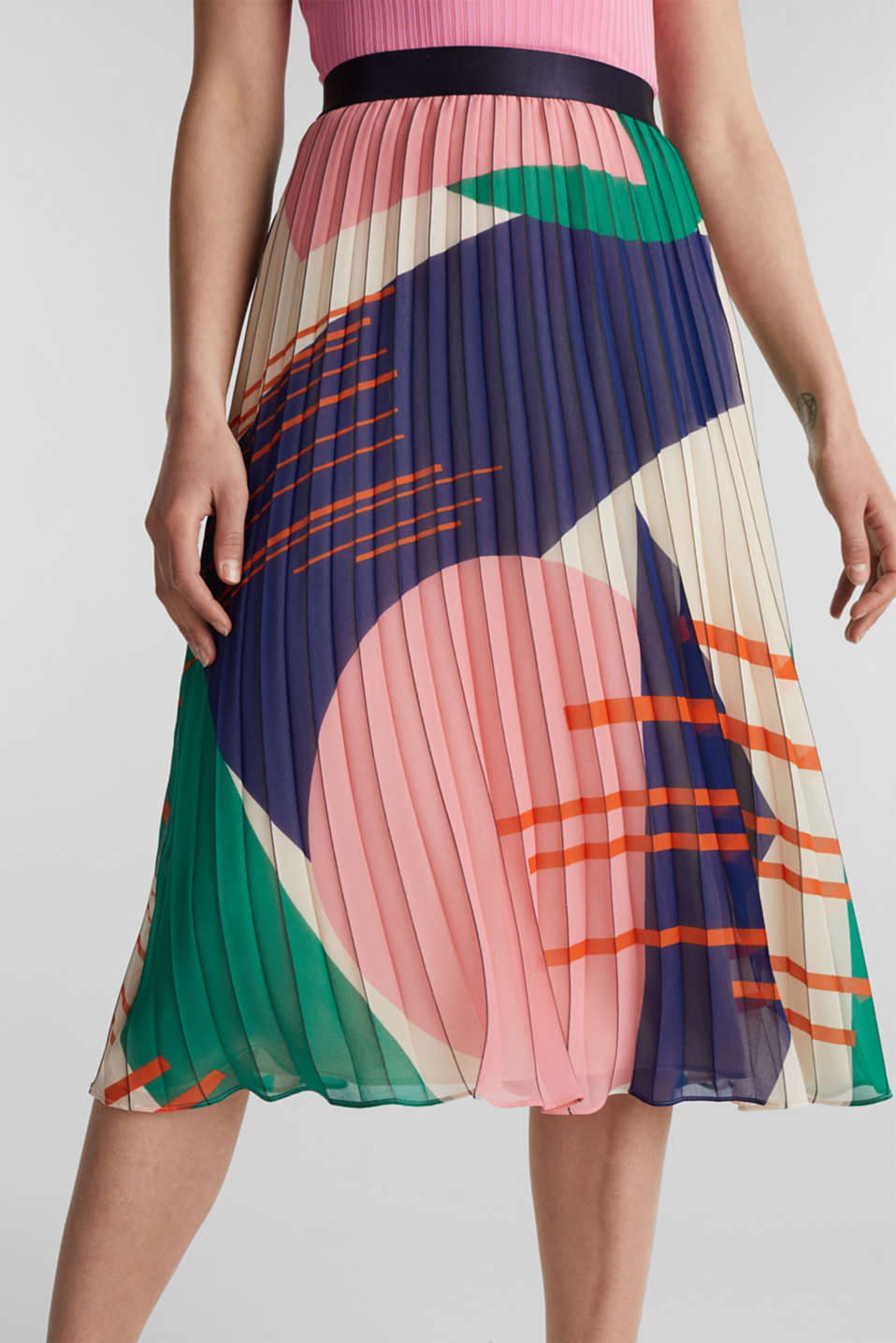 Recycled: Pleated skirt with a print, OFF WHITE 4, detail image number 2