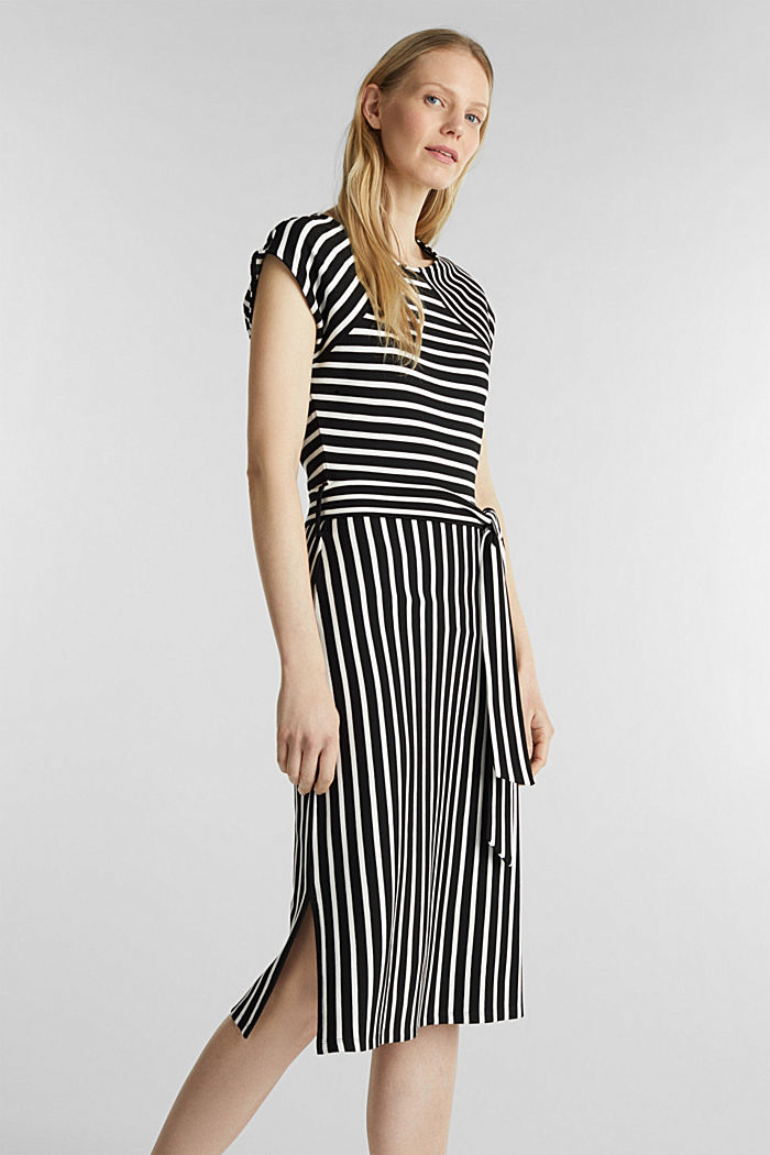 Stretch jersey dress with mixed stripes, BLACK, detail image number 0