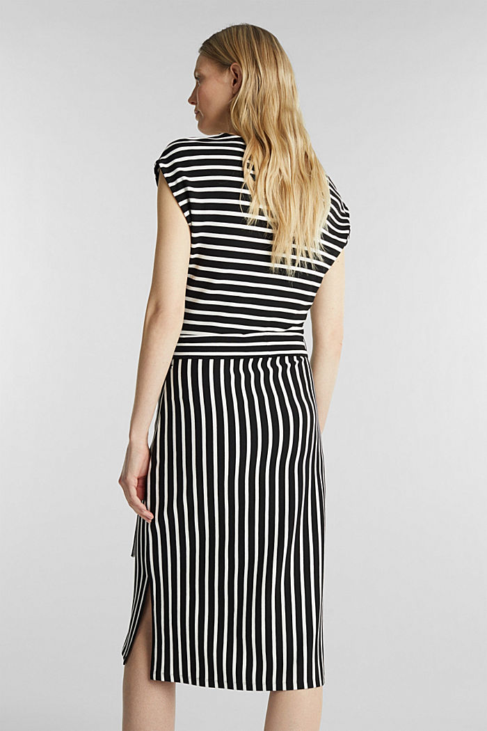 Stretch jersey dress with mixed stripes, BLACK, detail image number 2