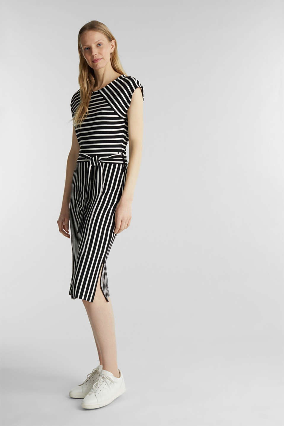 Stretch jersey dress with mixed stripes, BLACK, detail image number 1