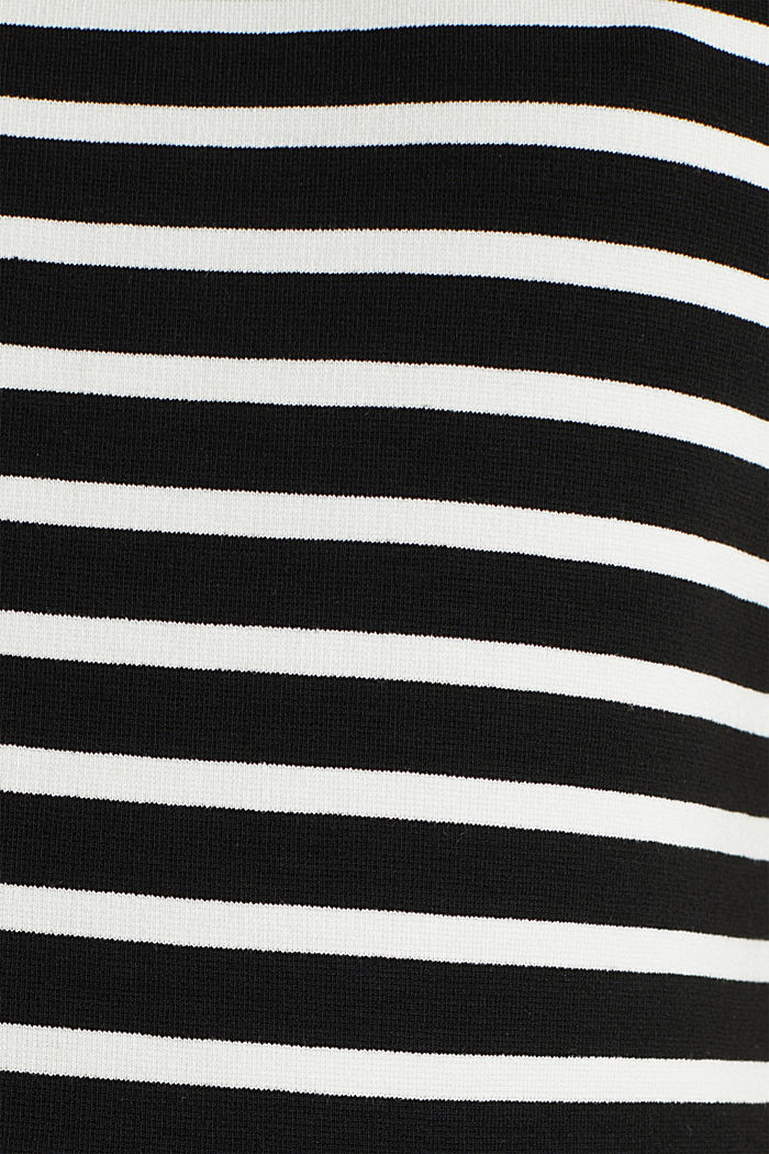 Stretch jersey dress with mixed stripes, BLACK, detail image number 4