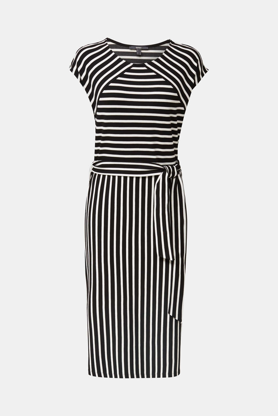Stretch jersey dress with mixed stripes, BLACK, detail image number 5