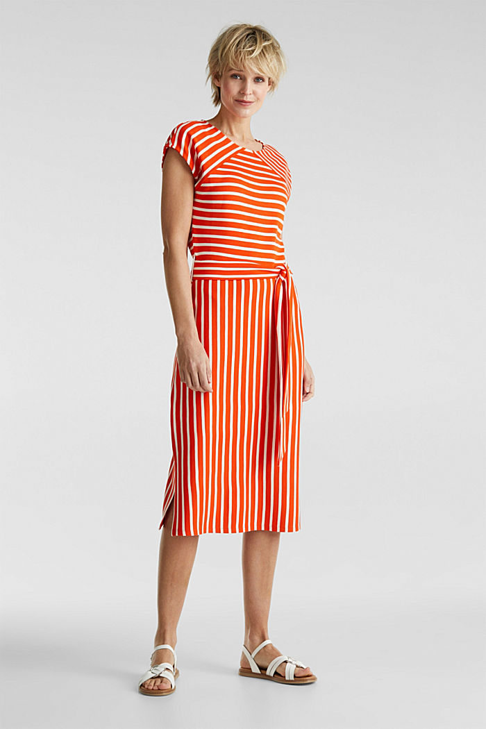 Stretch jersey dress with mixed stripes, RED ORANGE, detail image number 0