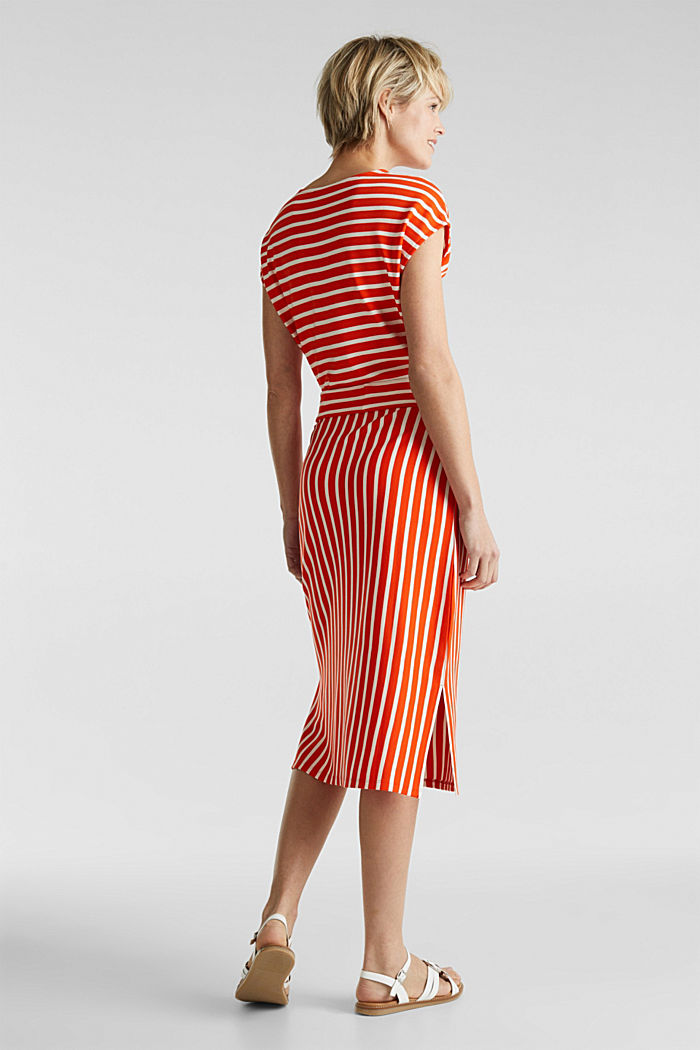 Stretch jersey dress with mixed stripes, RED ORANGE, detail image number 2