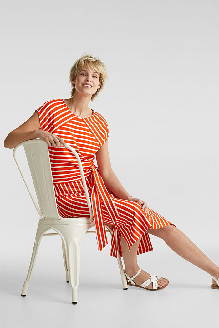 Stretch jersey dress with mixed stripes