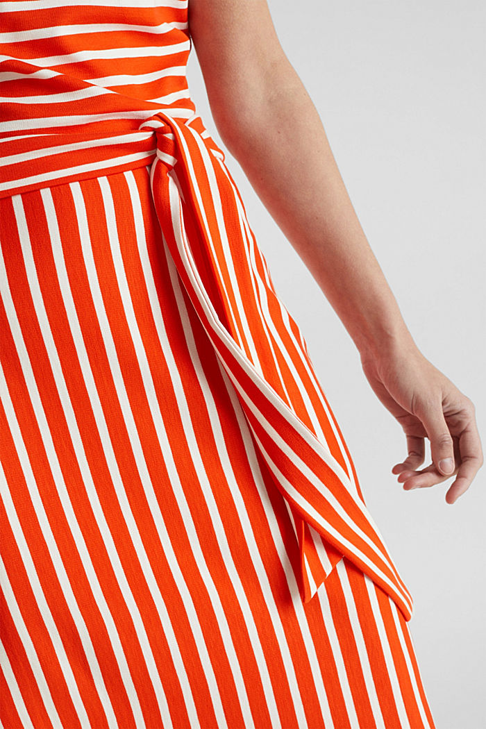 Stretch jersey dress with mixed stripes, RED ORANGE, detail image number 3