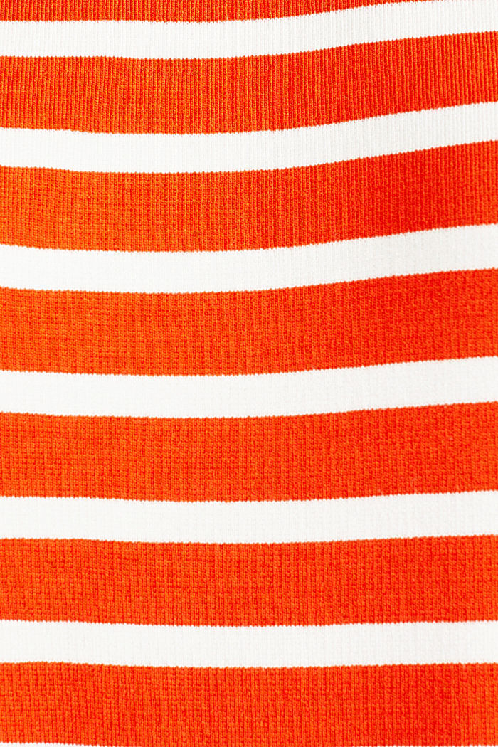 Stretch jersey dress with mixed stripes, RED ORANGE, detail image number 4