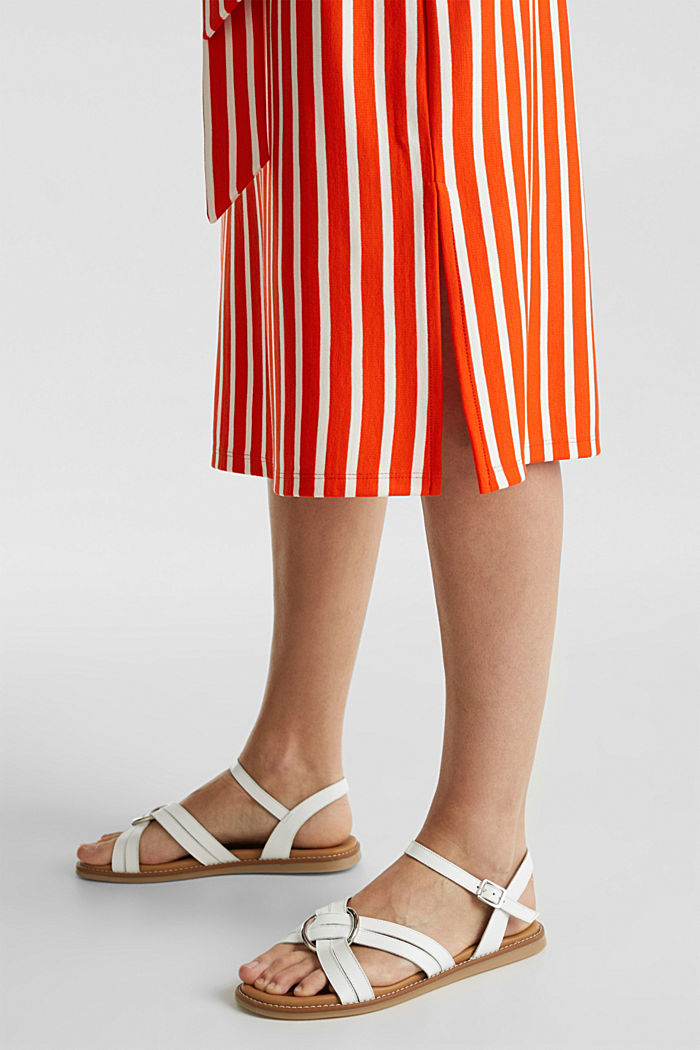 Stretch jersey dress with mixed stripes, RED ORANGE, detail image number 5