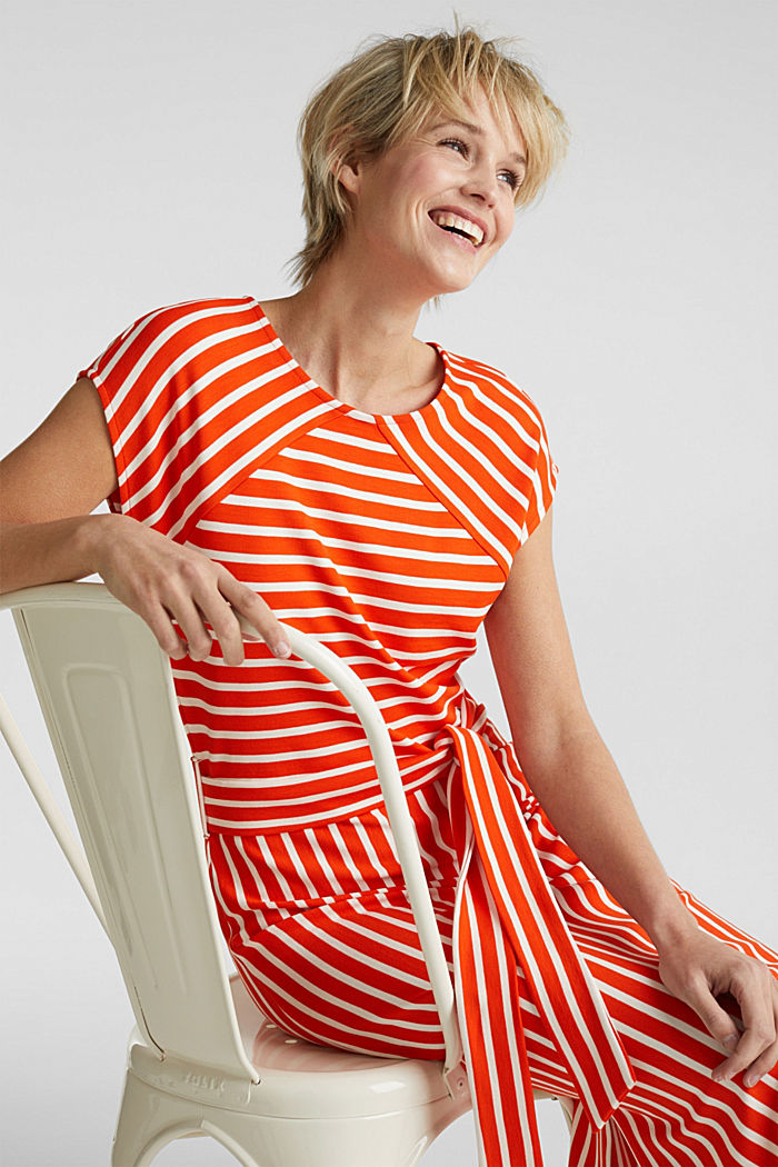 Stretch jersey dress with mixed stripes, RED ORANGE, detail image number 6