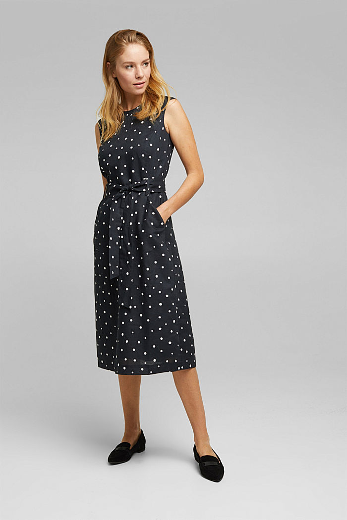 Sheath dress made of blended linen, BLACK, overview