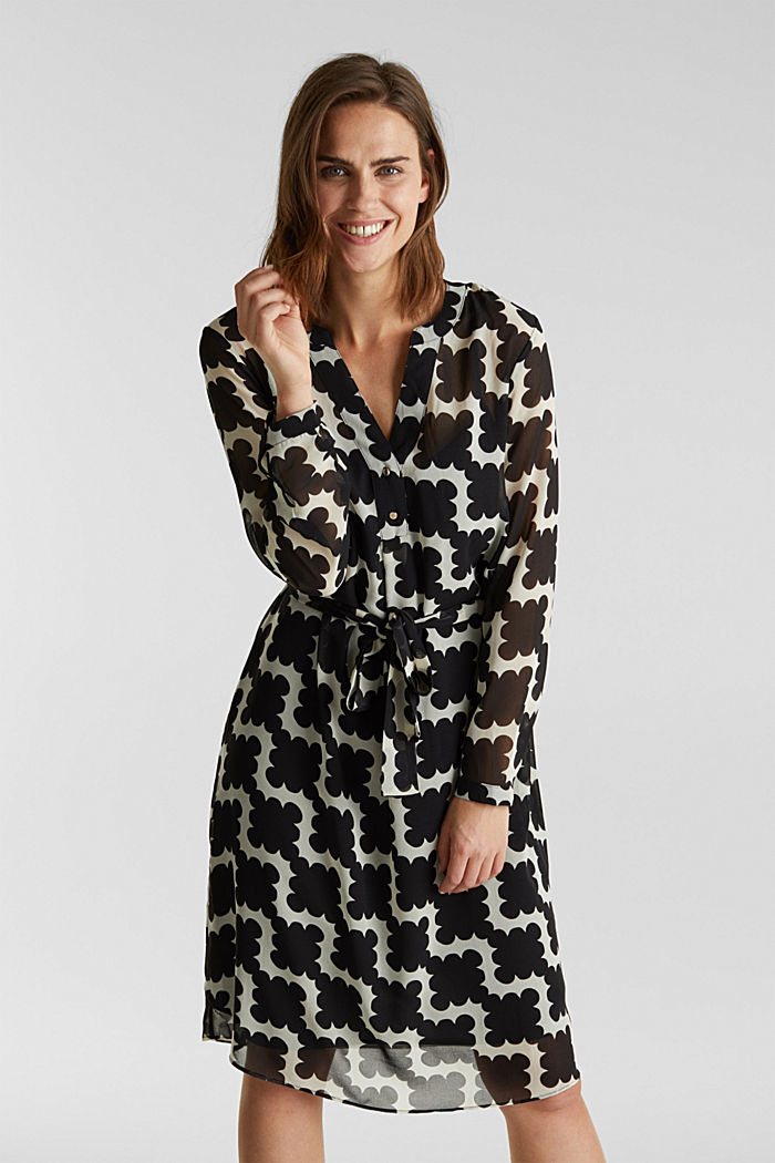 Printed chiffon shirt dress, BLACK, detail image number 0