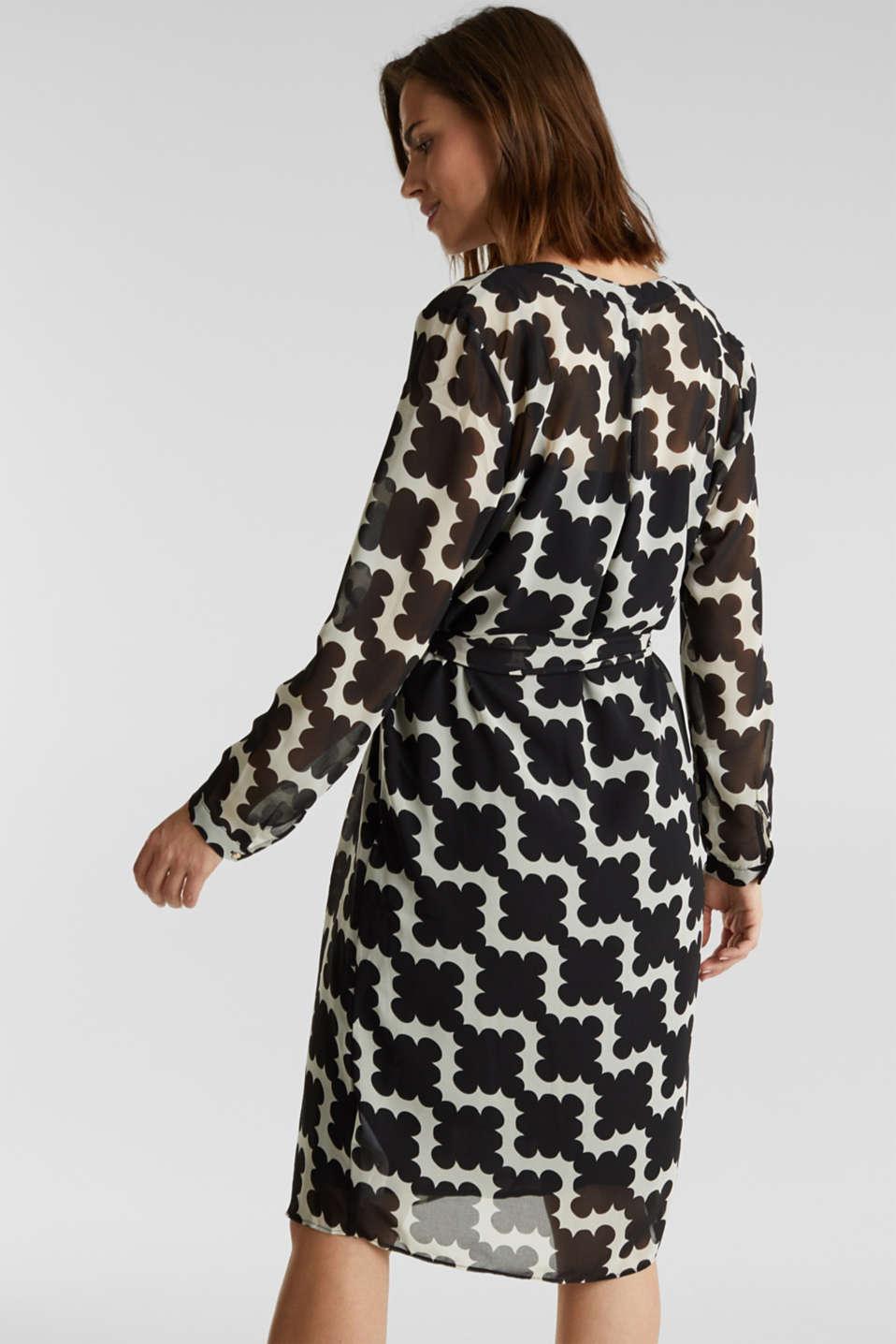 Printed chiffon shirt dress, BLACK 3, detail image number 2