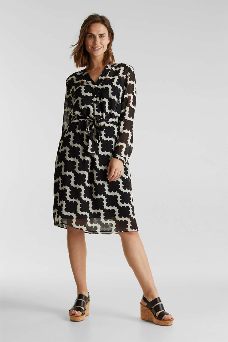 Printed chiffon shirt dress, BLACK 3, detail image number 1