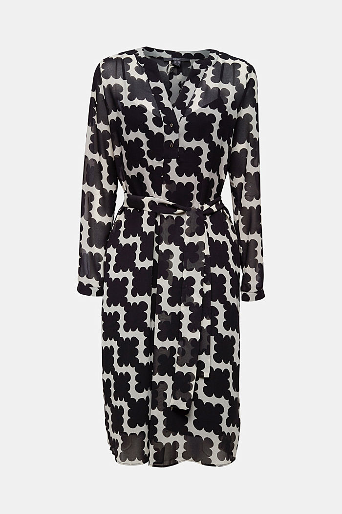 Printed chiffon shirt dress, BLACK, detail image number 5