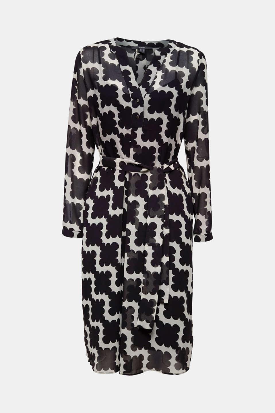 Printed chiffon shirt dress, BLACK 3, detail image number 4