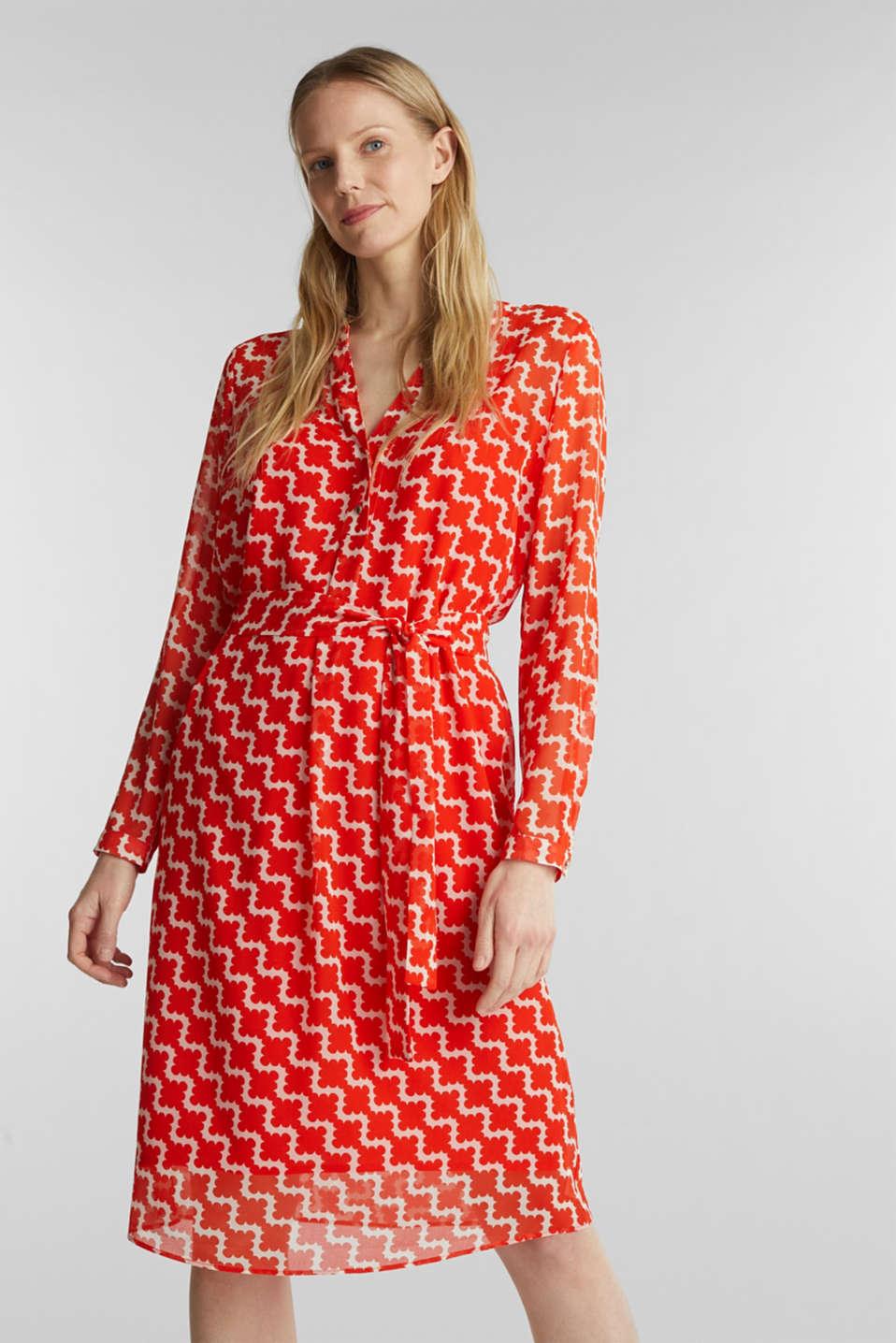 Printed chiffon shirt dress, RED ORANGE 4, detail image number 0