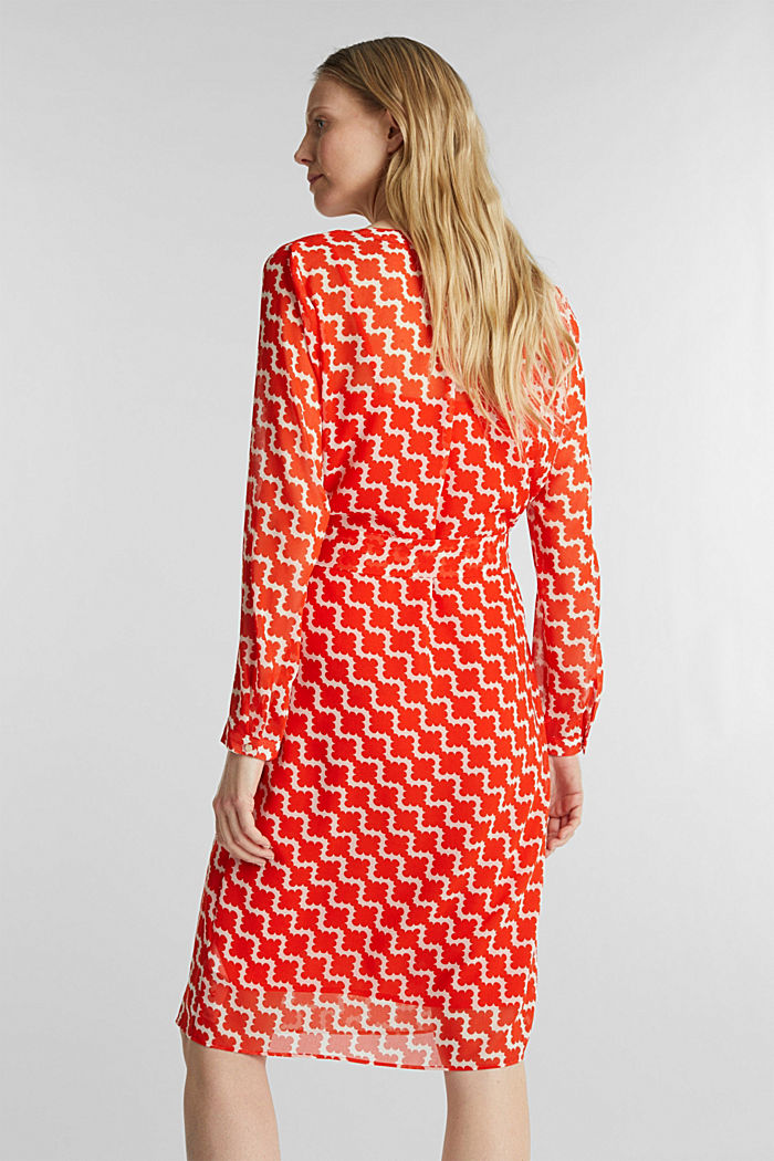 Chiffon-Hemdblusen-Kleid mit Print, RED ORANGE, detail image number 2