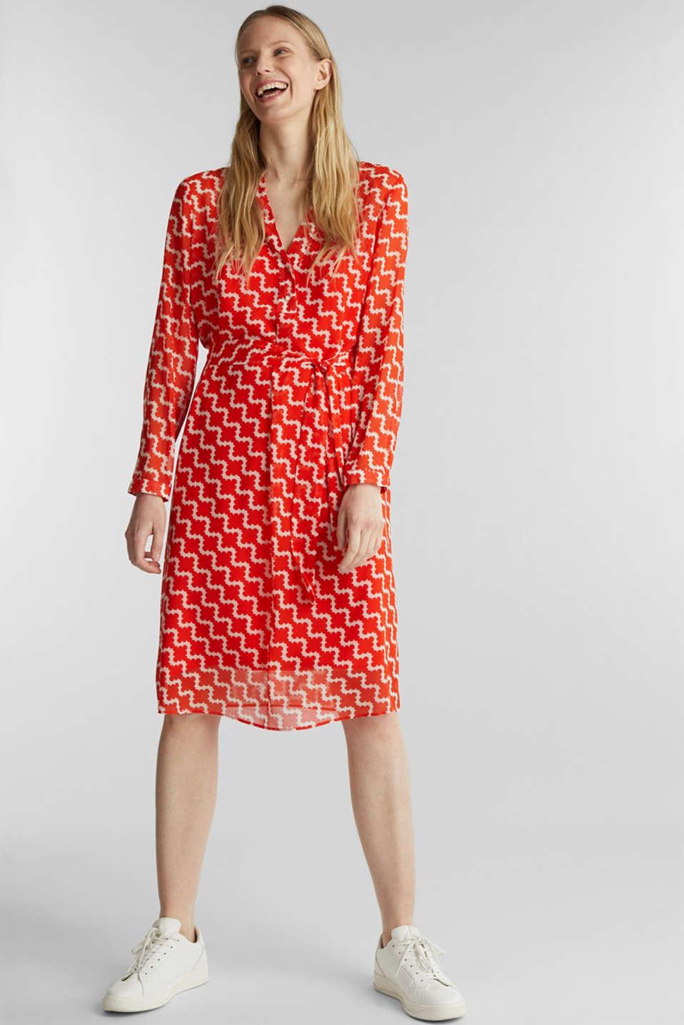 Printed chiffon shirt dress, RED ORANGE 4, detail image number 1