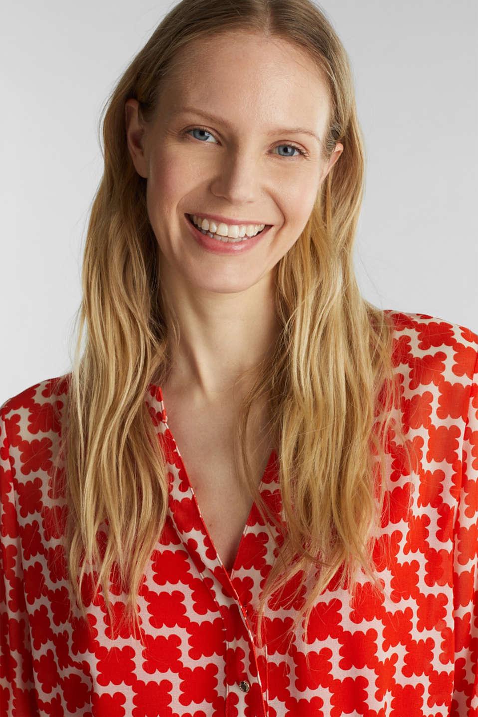 Printed chiffon shirt dress, RED ORANGE 4, detail image number 5