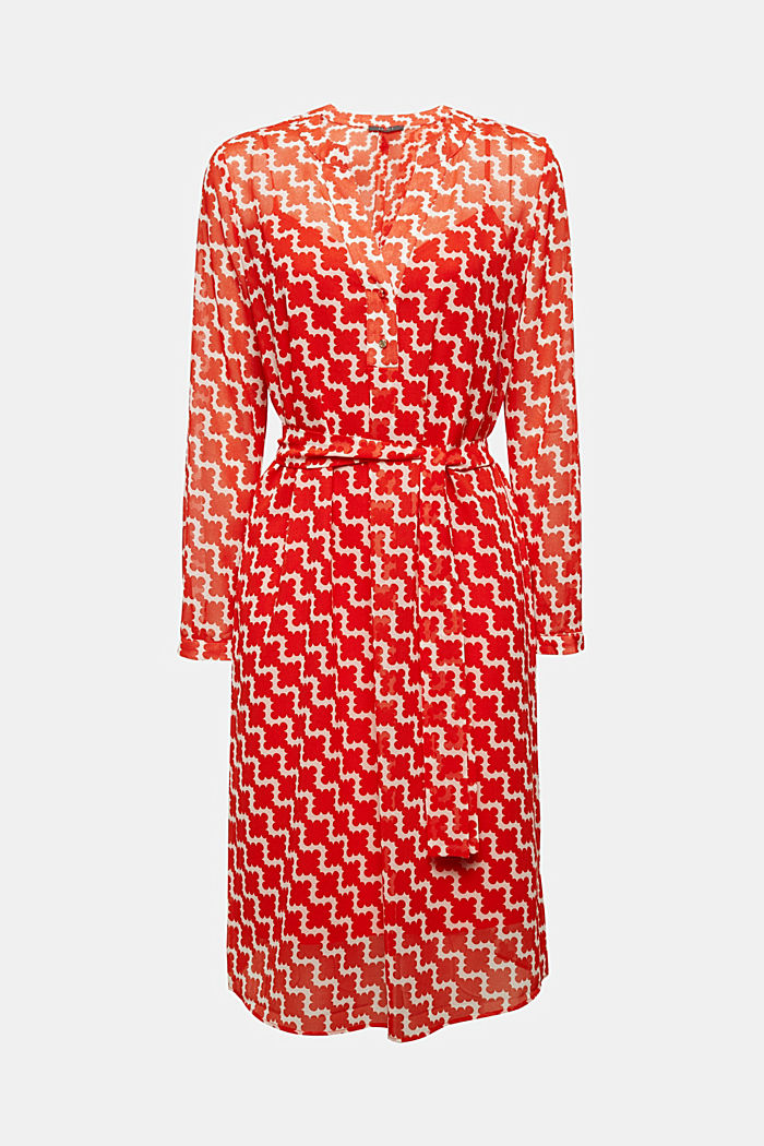 Chiffon-Hemdblusen-Kleid mit Print, RED ORANGE, detail image number 6