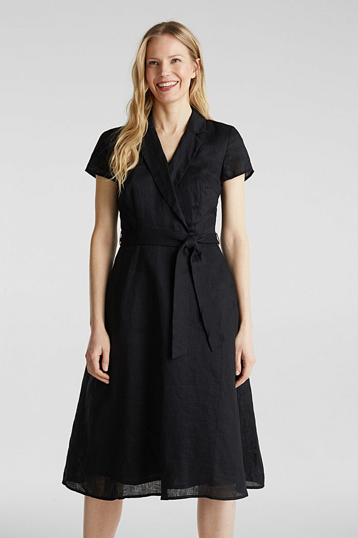 Made of linen: dress with a wrap-over effect