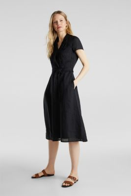 Made of linen: dress with a wrap-over effect, BLACK, detail