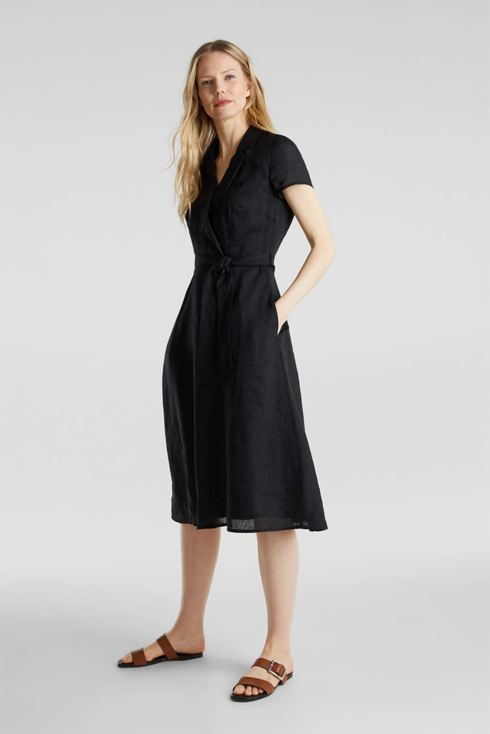 Made of linen: dress with a wrap-over effect, BLACK, detail image number 1