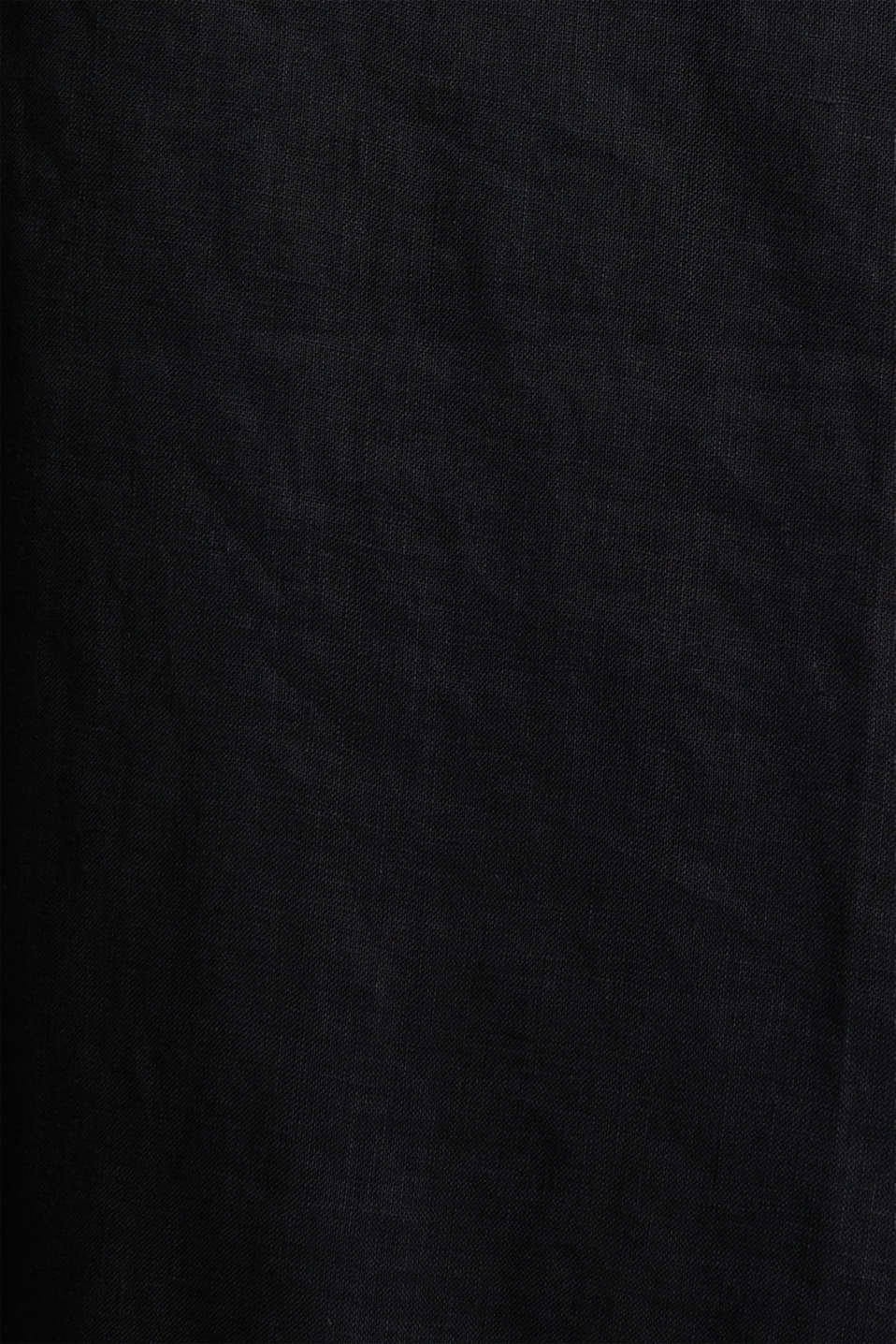 Made of linen: dress with a wrap-over effect, BLACK, detail image number 4