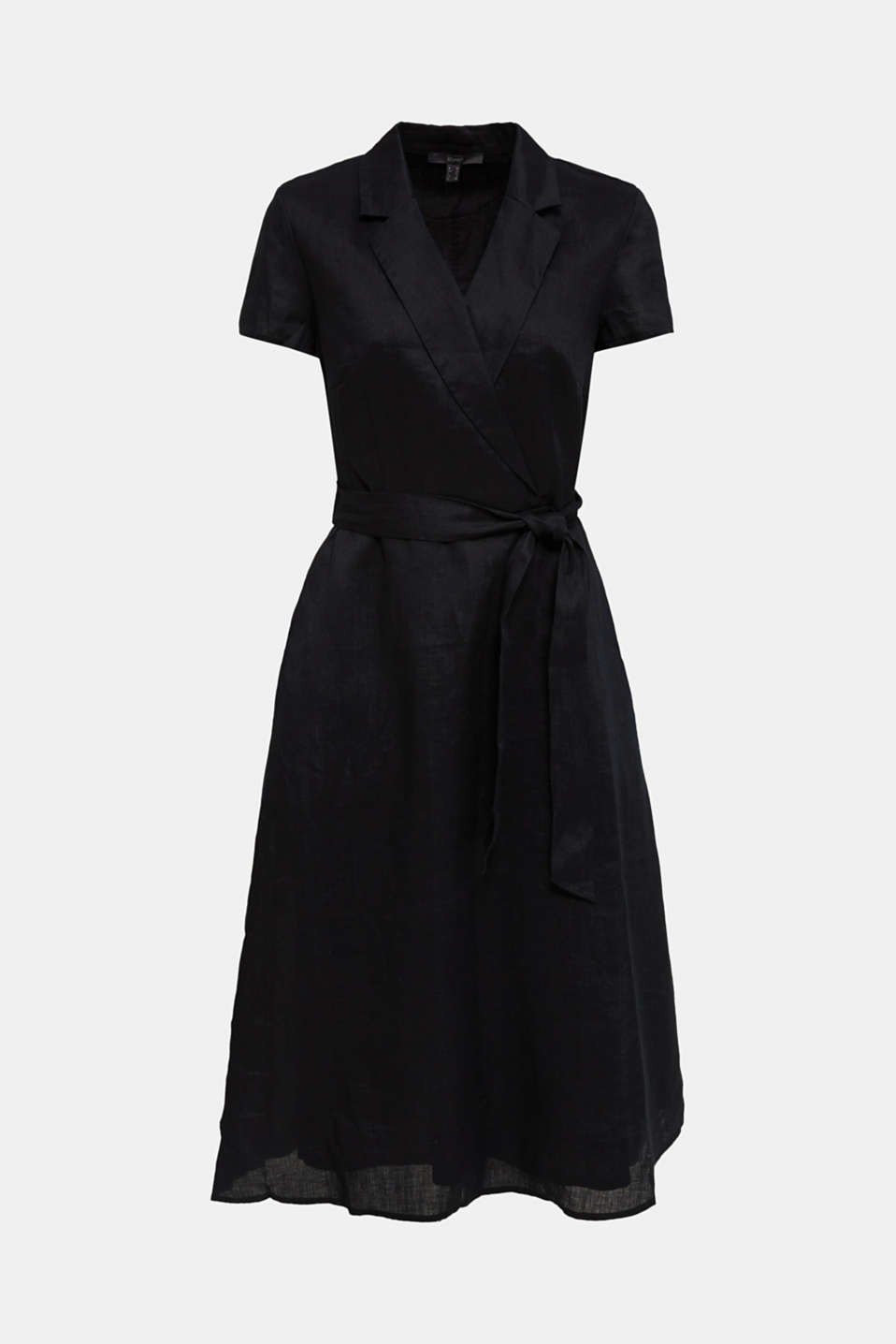 Made of linen: dress with a wrap-over effect, BLACK, detail image number 6