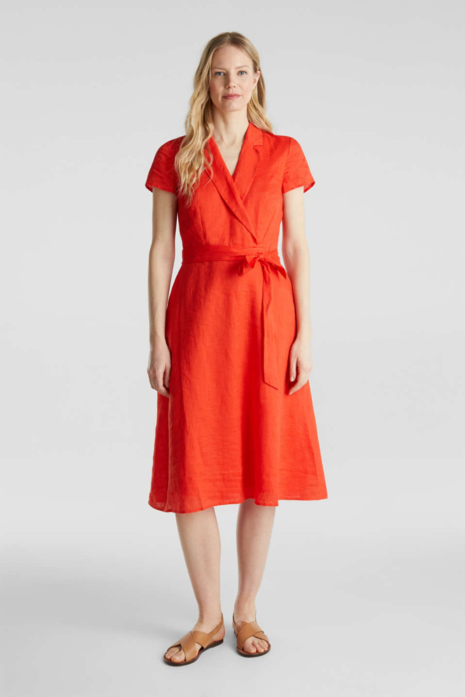 Esprit - Made of linen: dress with a wrap-over effect