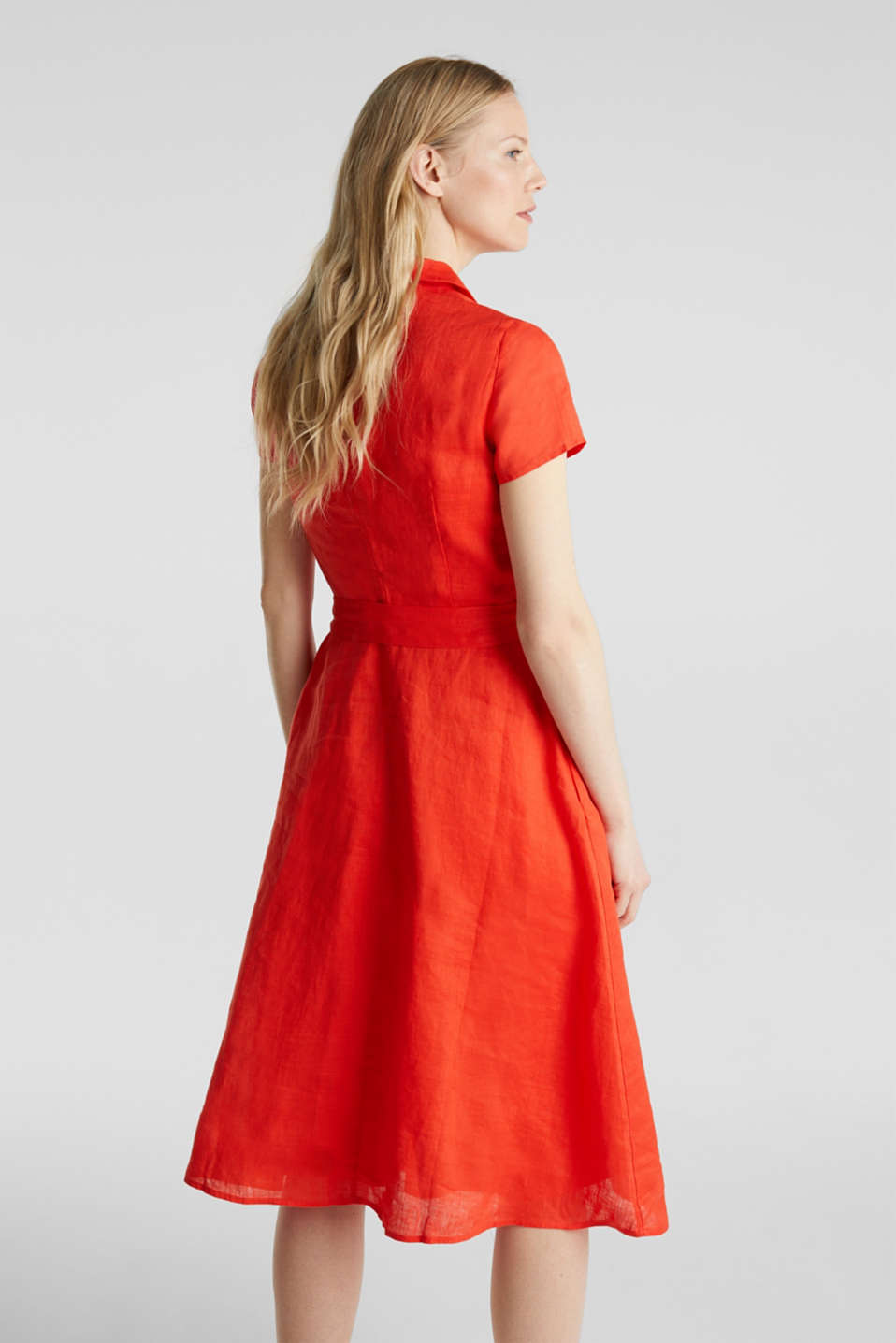 Made of linen: dress with a wrap-over effect, RED ORANGE, detail image number 2